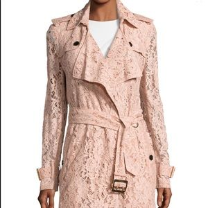 Burberry Wrap-Front Macrame Lace Trench Coat